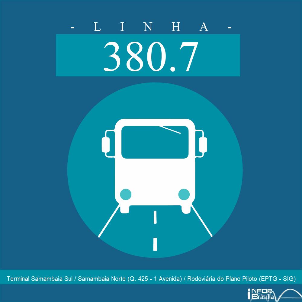Horário de ônibus e itinerário 380.7 - Terminal Samambaia Sul / Samambaia Norte (Q. 425 - 1 Avenida) / Rodoviária do Plano Piloto (EPTG - SIG)