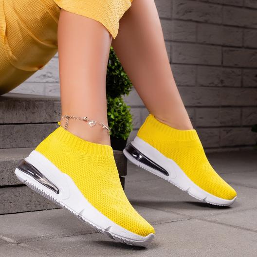 Pantofi dama sport galbeni din material textil cu talpa de silicon