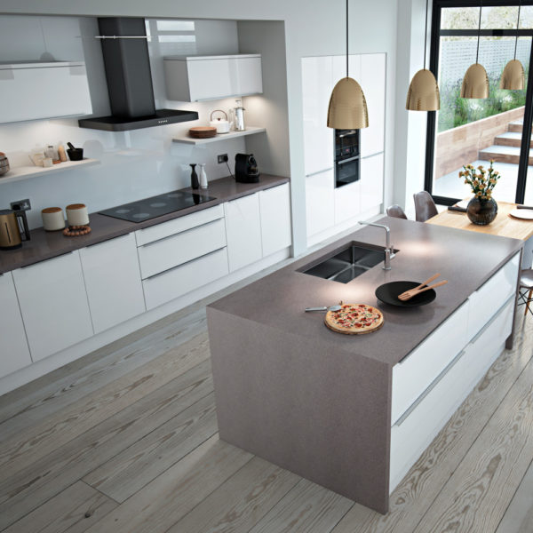 Clonmel Gloss Cream Slab Door Kitchen: Made To Order Kitchen Units, Doors And
