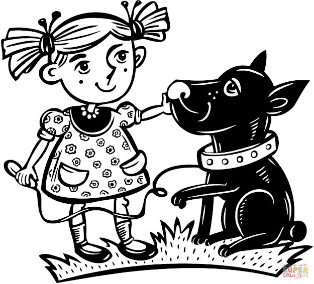 Click The Girl With Her Pet Dog Coloring Pages To View Printable Version Or  Color It Online Patible With Ipad And Android Tablets