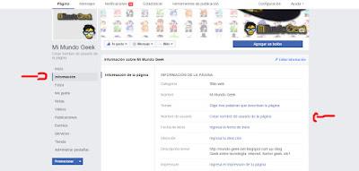 Cambiar link pagina de Facebook