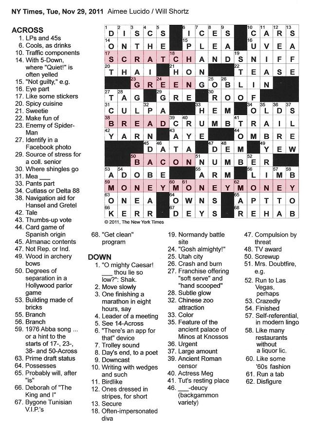 The New York Times Crossword In Gothic November 2011