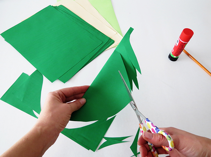 Make a paper leaves garland