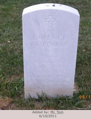 clarence friedman grave stone jefferson barracks cemetary