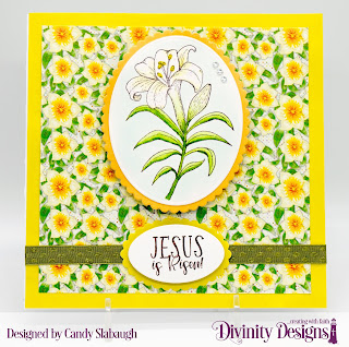 Divinity Designs Stamp Set:  Miracle of Easter Custom Dies:  Scalloped Ovals, Ovals  Paper Collection:  Spring Flowers 2019