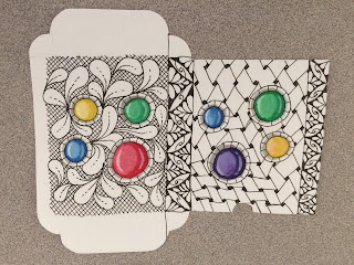 Tuckbox decorated Zentangle style with painted gems but not folded yet