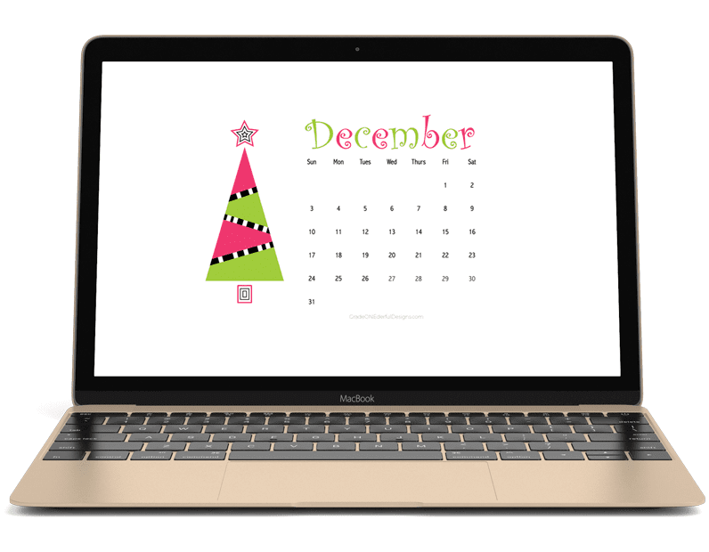 December Calendar FREEBIE for your desktop or iphone wallpaper. By Grade ONEderful Designs.