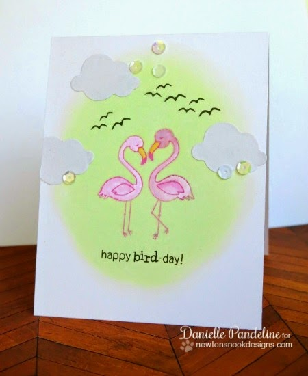 Happy Bird-Day Card by Danielle Pandeline  for the Inky Paws Challenge | Flirty Flamingos stamp set by Newton's Nook Designs