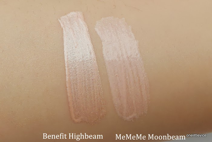 highlighter dupes benefit vs mememe swatch and review