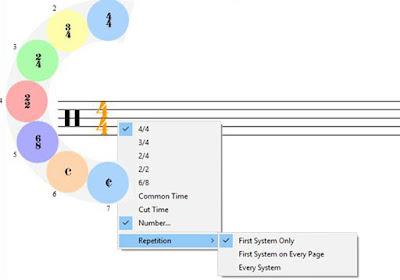 Changing time signatures in Crescendo Music Notation Software
