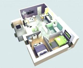 desain 3d denah rumah minimalis 2 kamar tidur terbaru 2019