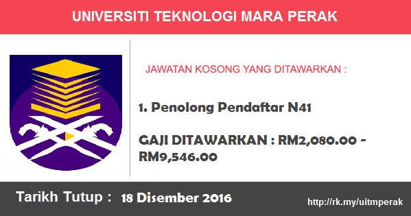 Jawatan Kosong di Universiti Teknologi Mara (UiTM) Perak