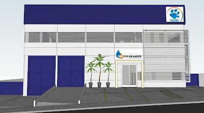 A fachada projetada do Centro Logístico do Ponto do Encanador em Paulínia.