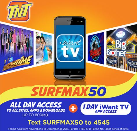 7fad2875f1 1 Day iWant TV Access With Surfmax on TNT - TalknText PH