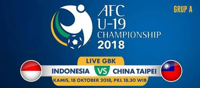 Live Streaming Indonesia vs Chinese Taipei AFC U19 18.10.2018