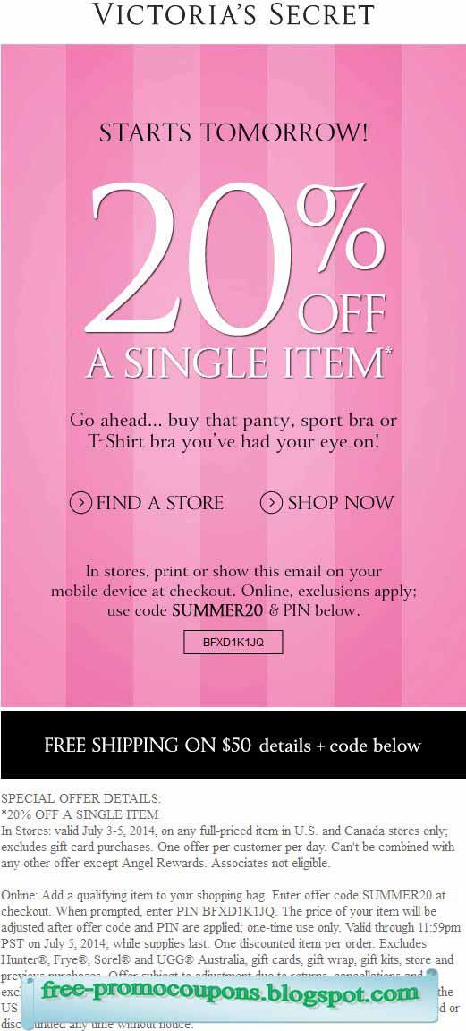 Past Victoria's Secret Coupon Codes