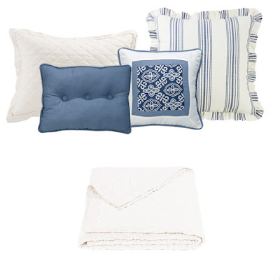 Prescott Navy striped Euro sham, Monterey decorative throw pillows, Vintage white linen quilt and pillow sham