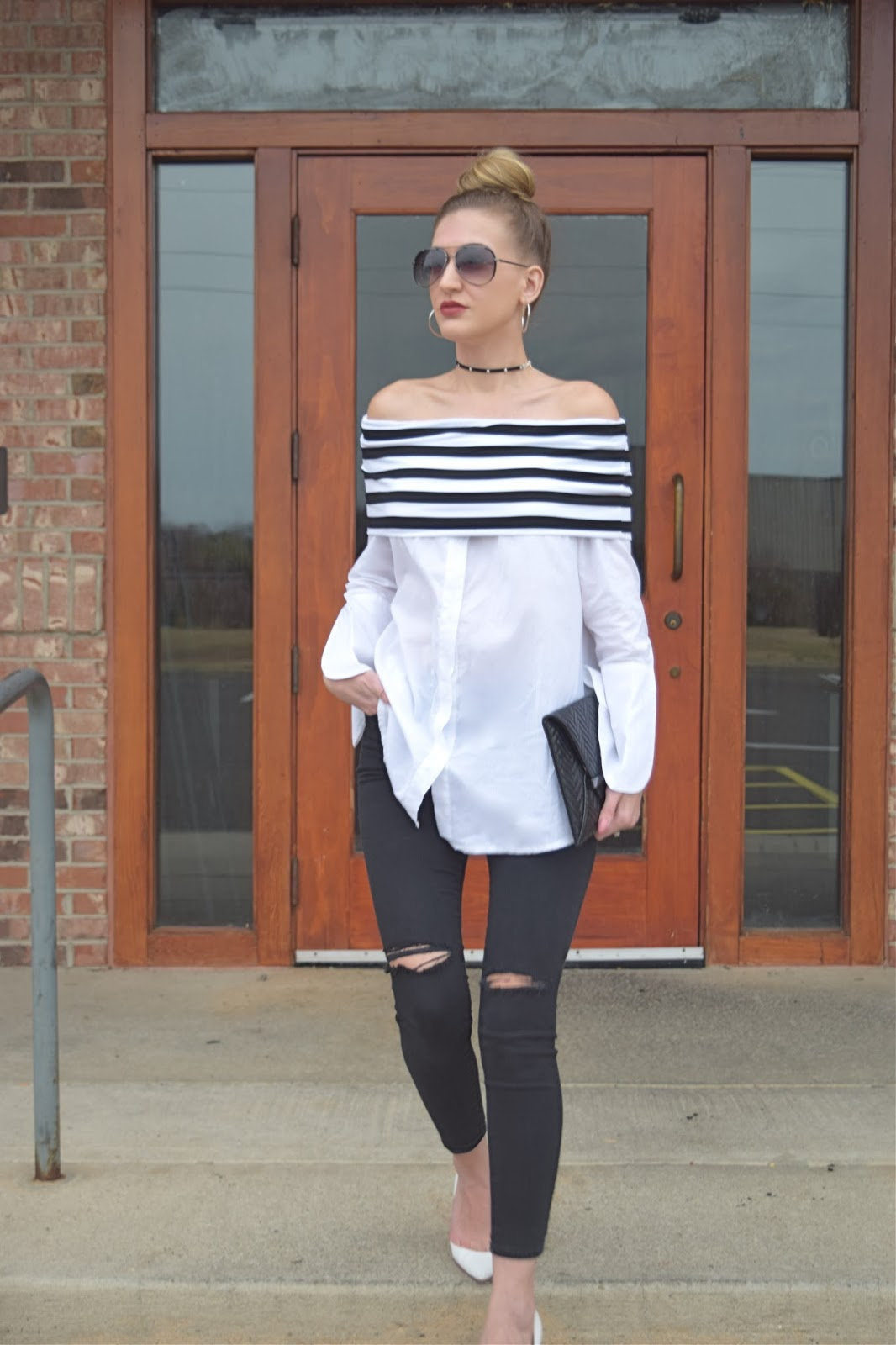 wearing sheinside black and white off the shoulder dress shirt, off the shoulder button down shirt, off the shoulder button down shirt, top shop black jeans, christian louboutin dorsay heels, forever21 star choker necklace