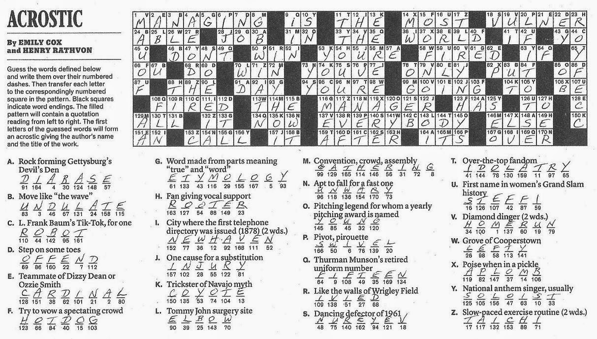 The New York Times Crossword in Gothic: 10.05.14 — Nice ...