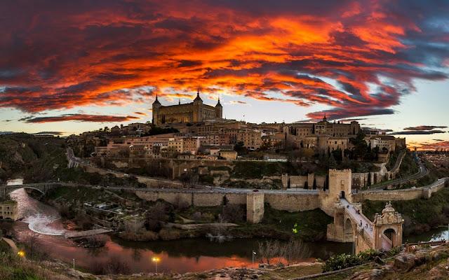 Toledo Wonderful Sunset Cool Spanish City Spain HD Desktop Wallpaper