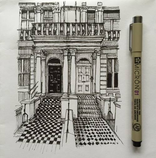 10-Tiled-Entrance-to-Town-House-Phoebe-Atkey-Architecture-Urban-Drawings-and-Interior-Design-Sketches-www-designstack-co