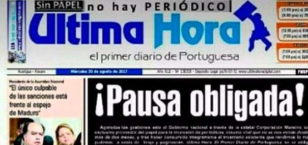 Antiguo diario regional de Venezuela suspende circulación por falta de papel