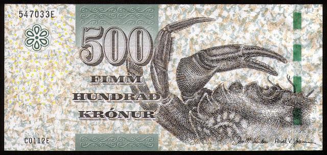 Faroe Islands Banknotes 500 Krone banknote 2011 Crab