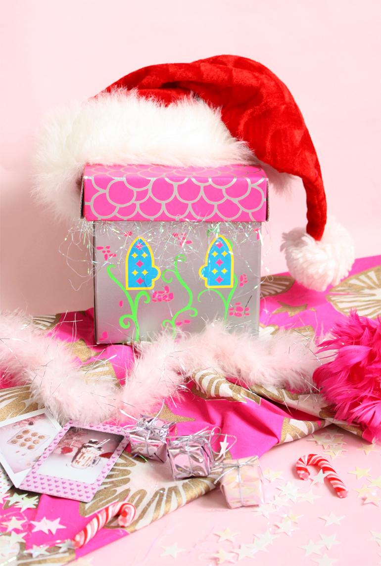 festive pink flatlay
