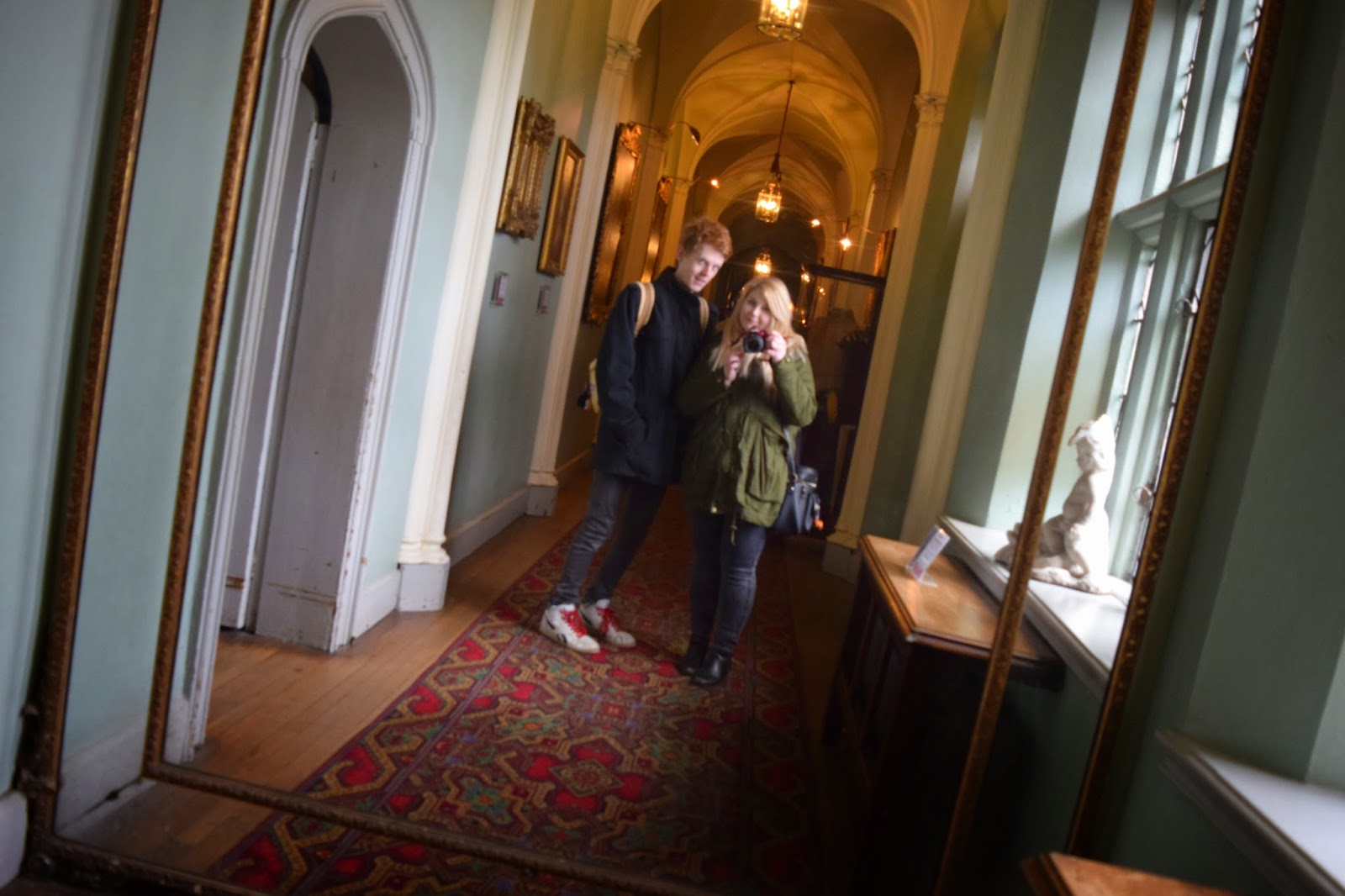 a mirror selfie on a corridor inside warwick castle