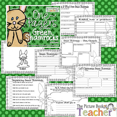 Green Shamrocks by Eve Bunting One Pager activities from The Picture Book Teacher.