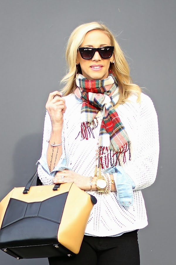 plaid scarf and kate spade bag