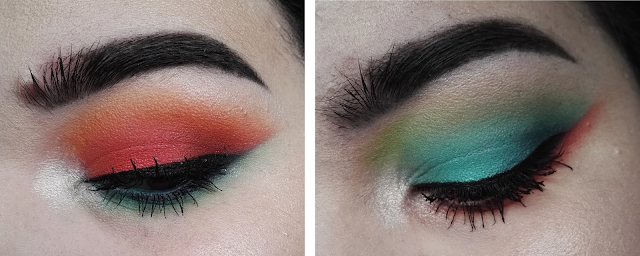 Maquillage bicolore orange et bleu