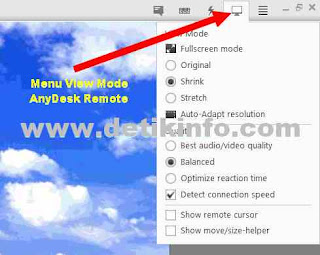 menu view mode remote anydesk