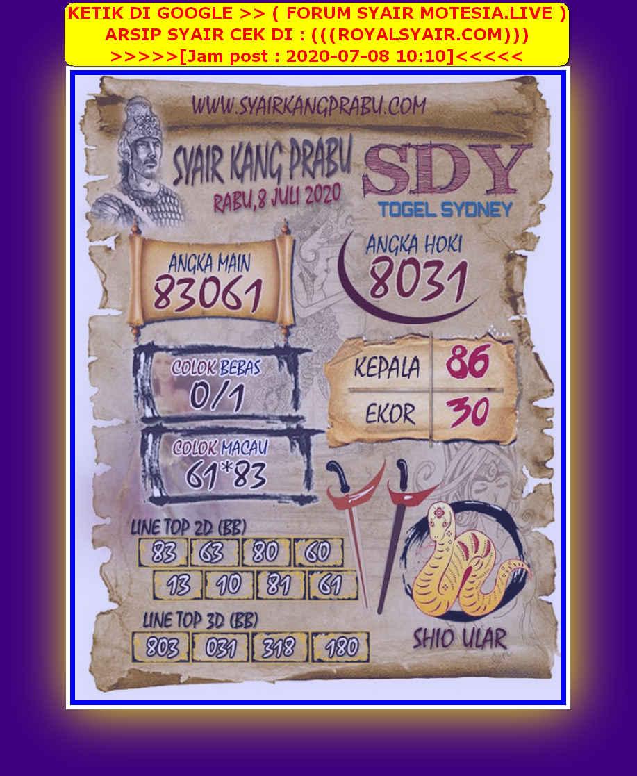 Kode syair Sydney Rabu 8 Juli 2020 169