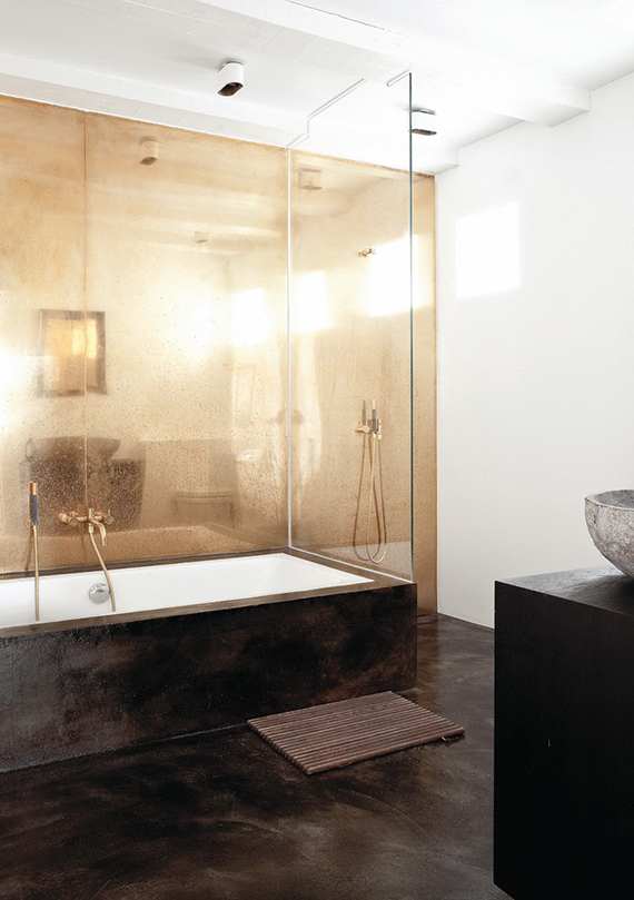 Antique mirror glass wall bathroom | Norm Architects