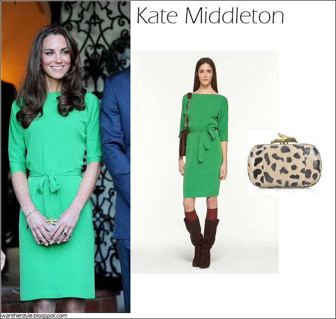 What She Wore Kate Middleton In Green Diane Von Furstenberg Dress With Dvf Leopard Print Clutch I Want Her Style Celebrities And Where To