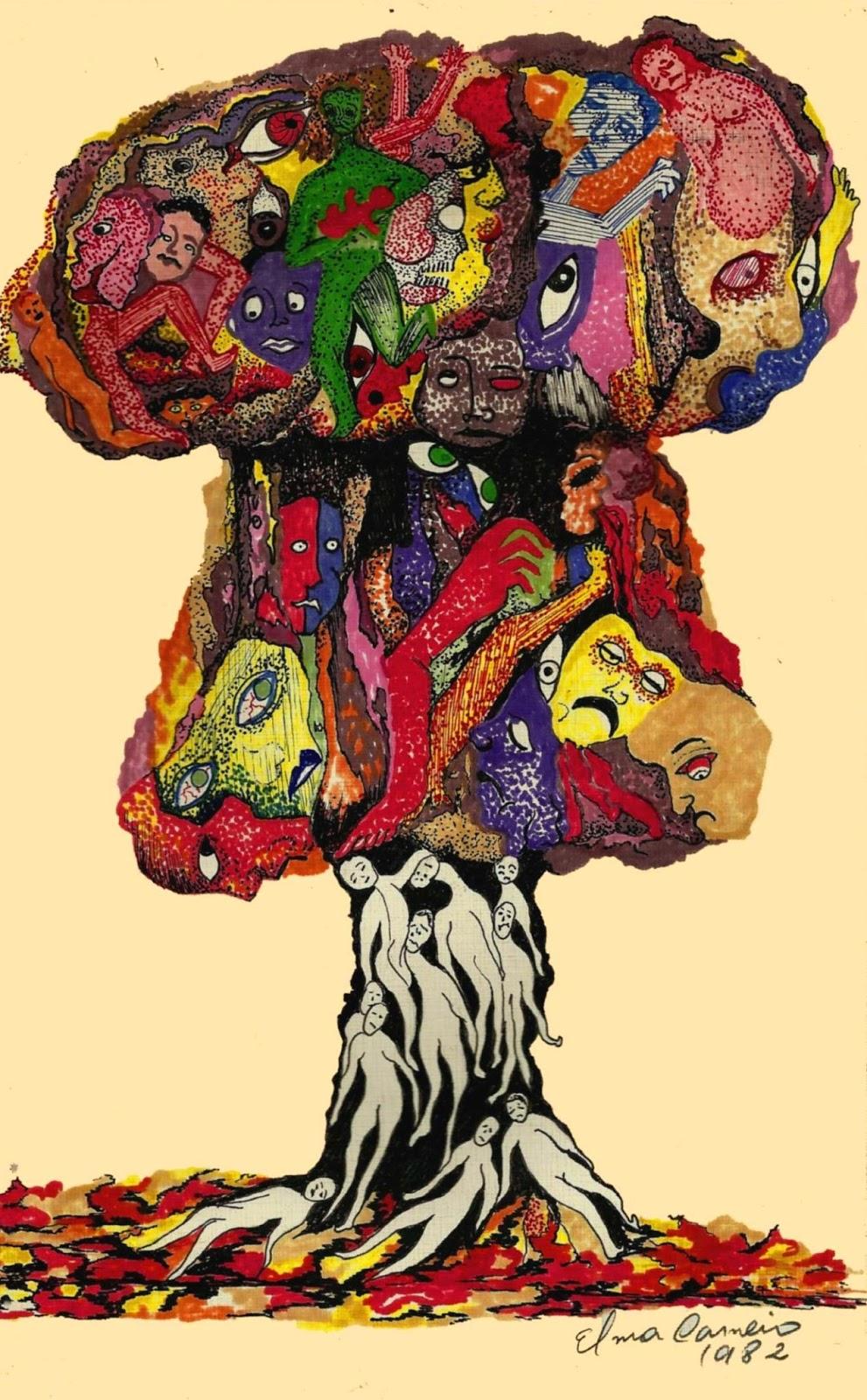 Desenho de Elma Carneiro  com canetas hidrográficas, bomba atômica, desintegração do ser humano