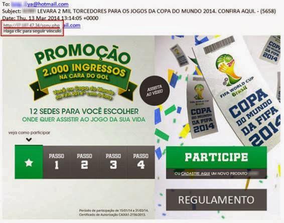 E-mail falso oferece a oportunidade de assistir a Copa do Mundo no Brasil - 566x446