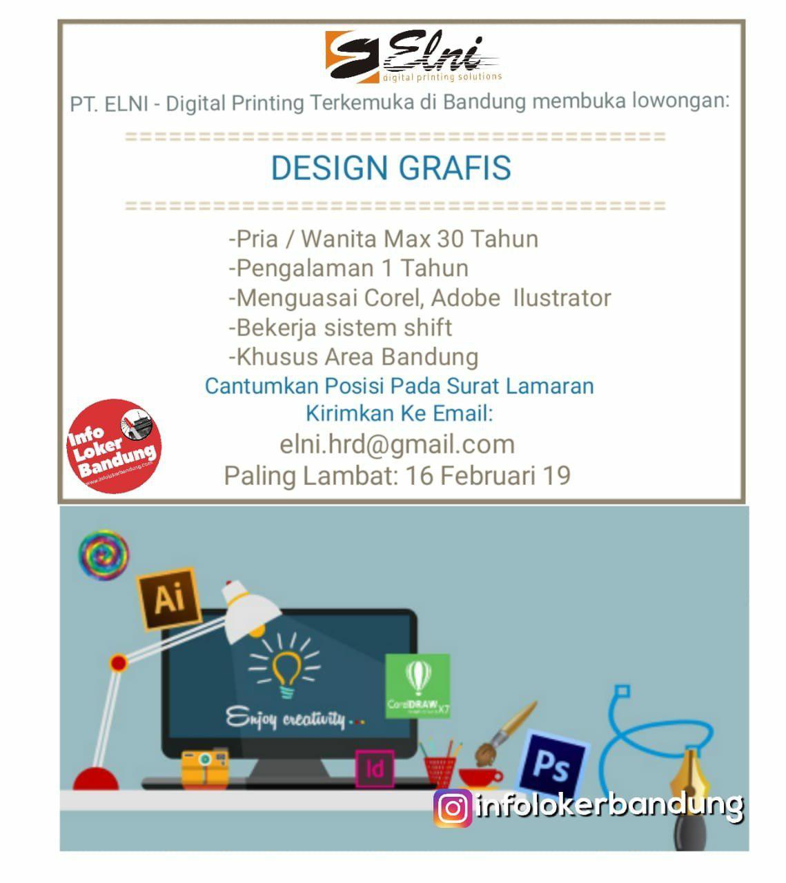 Lowongan Kerja Design Grafis PT. Elni Bandung Februari 2019