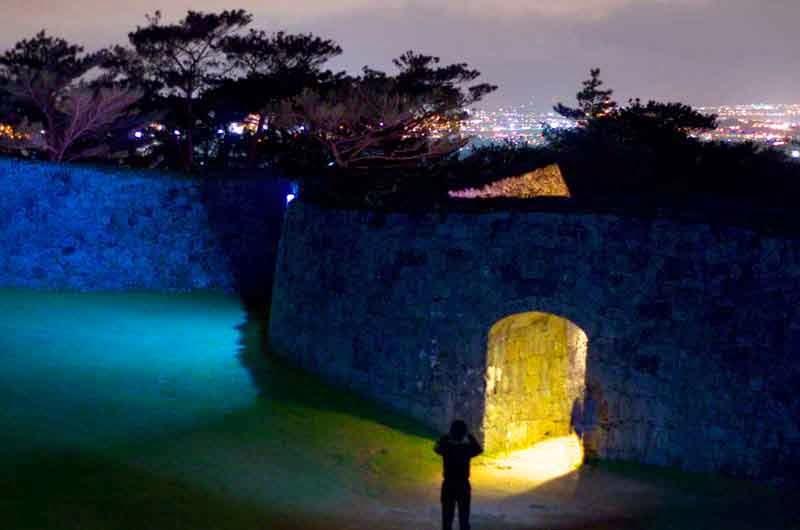 wide angle view, Zakimi Castle nightscape
