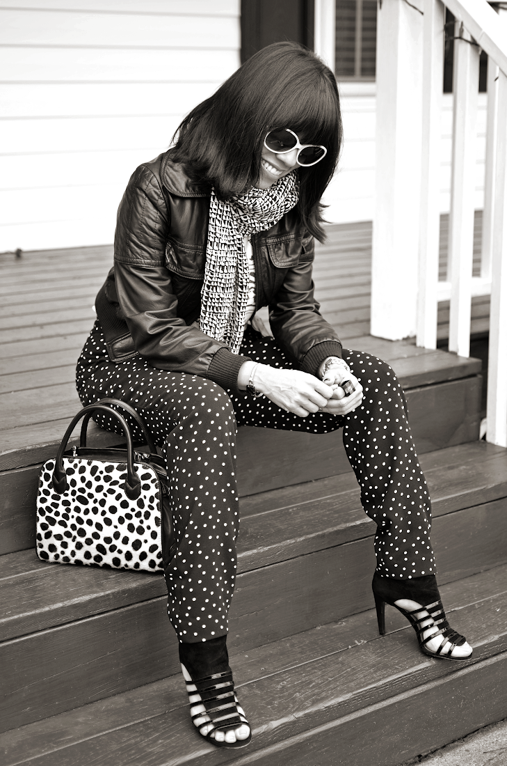 Polka Dots Pants Black and White Look