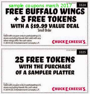 Chuck E Cheese coupons for march 2017