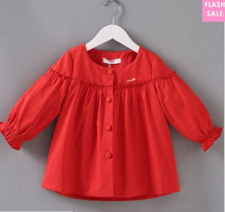 Solid Red Bunny Ear Button Outerwear (age 0-3 years old)-price:US$34.95
