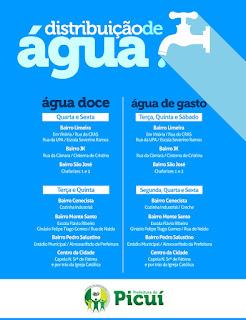 Prefeitura de Picuí amplia de dois para seis dias o abastecimento de água em toda cidade