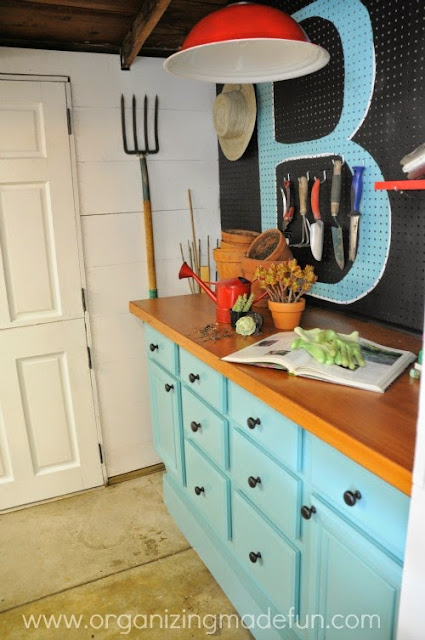 "Pegboard works as a beautiful background with an initial ""B"" for a pop of color :: OrganizingMadeFun.com"
