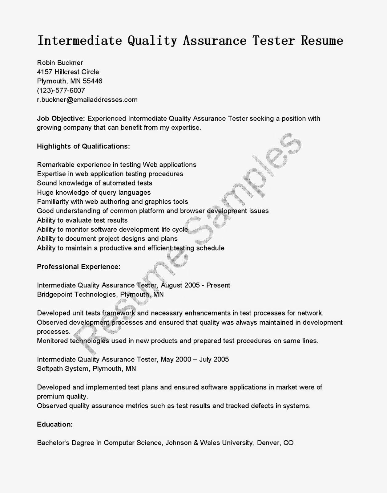 Resume For Quality Assurance Manager Resume Samples Intermediate Quality Assurance Tester