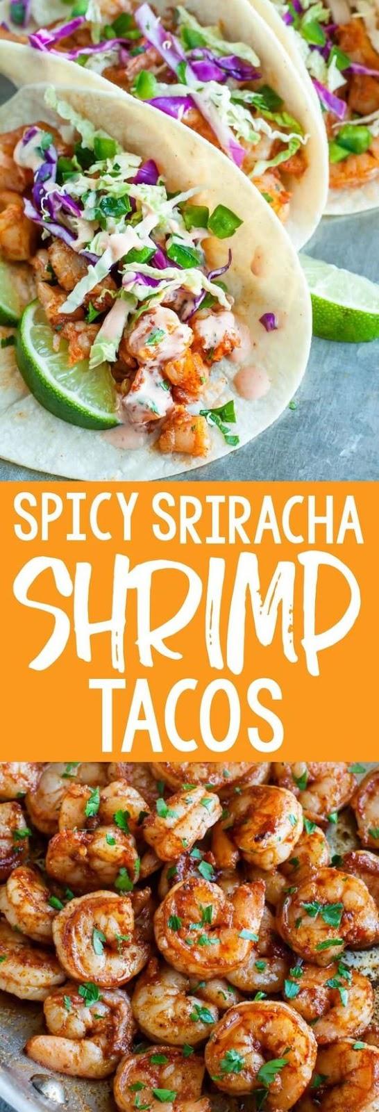 Spicy Sriracha Shrimp Tacos with Cilantro Lime Slaw