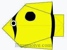 Bước 9: Vẽ mắt, vân để hoàn thành cách xếp con cá bướm bằng giấy theo phong cách origami.