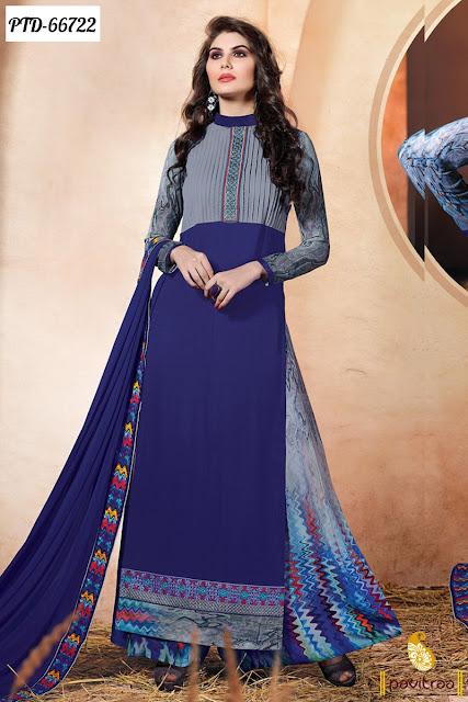 blue georgette designer straight cut palazzo salwar suit online shopping for wedding and party occasion