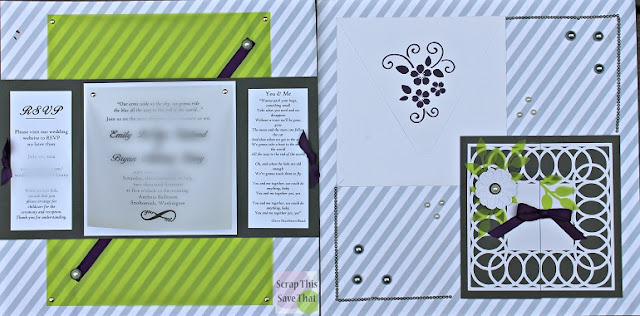Wedding album, weddng invitations, grey, purple, green